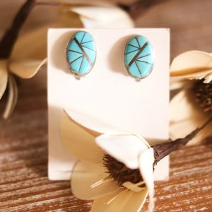 Turquoise Clip Earrings Sterling Silver